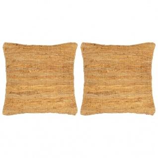 vidaXL Kissen 2 Stk. Chindi Hellbraun 45 x 45 cm Leder und Baumwolle