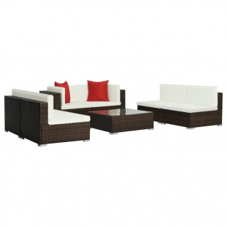 vidaXL 7-tlg. Garten-Lounge-Set mit Auflagen Poly Rattan Braun - Vorschau 3