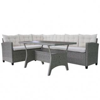 vidaXL 3-tlg. Garten-Lounge-Set mit Auflagen Poly Rattan Grau - Vorschau 4