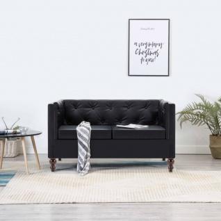 vidaXL Chesterfield-Sofa 2-Sitzer Kunstlederbezug Schwarz