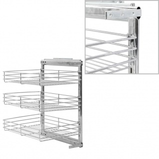 vidaXL 3-stufiger Ausziehbarer Küchen-Drahtkorb Silbern 47x35x56 cm