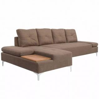 vidaXL Sofa in L-Form mit Ablagefläche aus Holz Stoff Braun XXL 300 cm