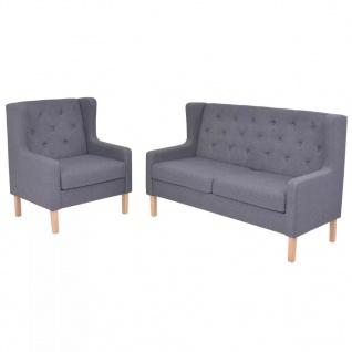 vidaXL Sofa-Set 2-tlg. Stoff Grau