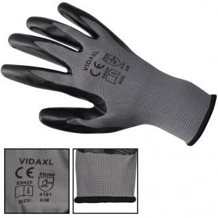 vidaXL Arbeitshandschuhe Nitril 24 Paar grau und schwarz Gr. 9/L - Vorschau 3
