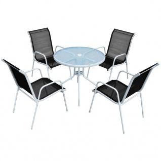 vidaXL Garten-Essgruppe 5-tlg. Stahl 80 x 71 cm Schwarz und Grau