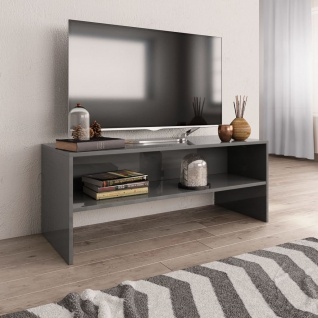 vidaXL TV-Schrank Hochglanz-Grau 100 x 40 x 40 cm Spanplatte