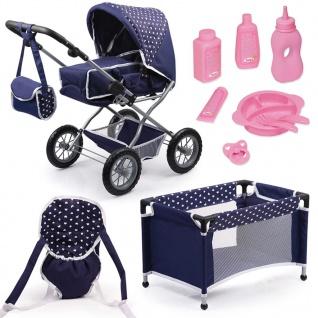 Bayer Puppenwagen-Set Combi Grande Blau 15051AB