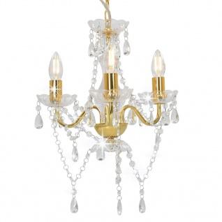 vidaXL Kronleuchter mit Perlen Goldfarben Rund 3ßE14