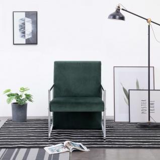 vidaXL Sessel mit verchromten Füßen Dunkelgrün Samt