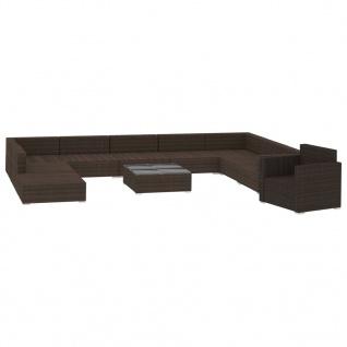 vidaXL 11-tlg. Garten-Lounge-Set mit Auflagen Poly Rattan Braun - Vorschau 3
