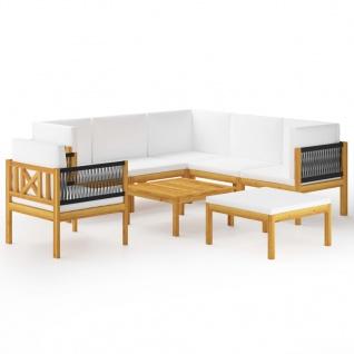 vidaXL 8-tlg. Garten-Lounge-Set mit Kissen Cremeweiß Massivholz Akazie