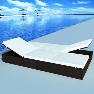 vidaXL Doppel-Sonnenliege mit Auflage Poly Rattan Braun