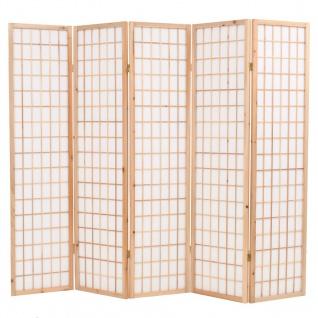vidaXL 5-tlg. Raumteiler Japanischer Stil Klappbar 200 x 170 cm Natur
