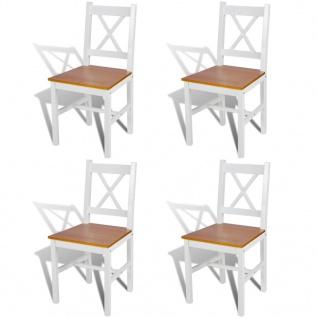 vidaXL Esszimmerstühle 4 Stk. Holz Weiß und Natur