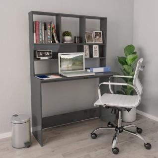 vidaXL Schreibtisch mit Regalen Hochglanz-Grau 110×45×157cm Spanplatte