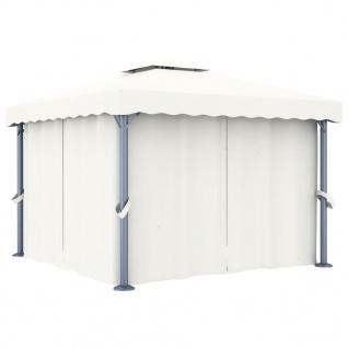 vidaXL Pavillon mit Vorhang 3x3 m Cremeweiß Aluminium