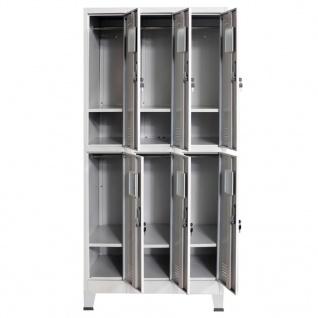 vidaXL Schließfachschrank mit 6 Fächern Stahl 90x45x180 cm Grau - Vorschau 5