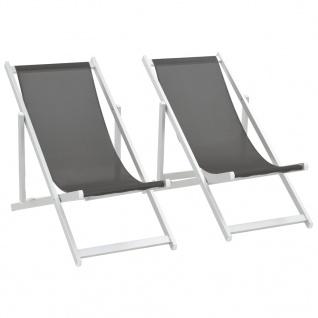 vidaXL Klappbarer Strandstuhl 2 Stk. Aluminium und Textilene Grau