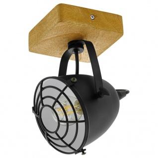 EGLO Spotleuchte Gatebeck 1 Lampe Stahl und Holz Schwarz