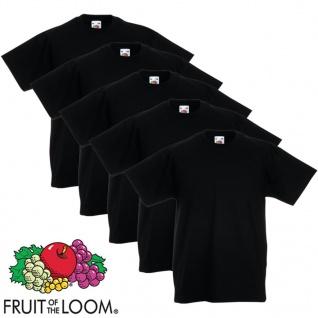5xFruit of the Loom Original Kinder-T-Shirt 100% Baumwolle Schwarz 128