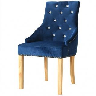 vidaXL Esszimmerstühle 2 Stk. Massive Eiche und Samt Blau - Vorschau 3