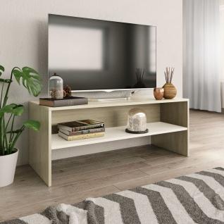 vidaXL TV-Schrank Weiß und Sonoma-Eiche 100 x 40 x 40 cm Spanplatte