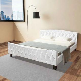 vidaXL Doppelbett mit Matratze Kunstleder Weiß 180 x 200 cm