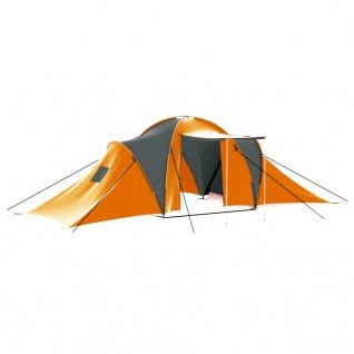 vidaXL Campingzelt 9 Personen Stoff Grau und Orange
