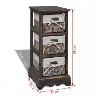 vidaXL Holz-Schränkchen mit 3 Flechtkörben Braun - Vorschau 5