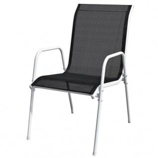 vidaXL Stapelbare Gartenstühle 6 Stk. Stahl und Textiline Schwarz - Vorschau 2