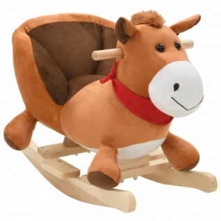 vidaXL Schaukeltier Pferd mit Rückenlehne Plüsch 60 x 32 x 50 cm Braun