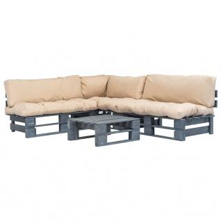vidaXL 4-tlg. Garten-Lounge-Set Paletten Sandfarbene Auflagen Holz