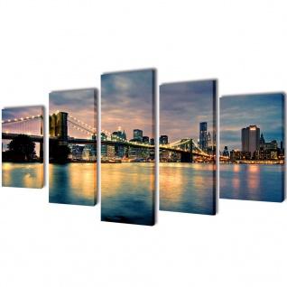Bilder Dekoration Set Brooklyn Bridge Seeblick 100 x 50 cm