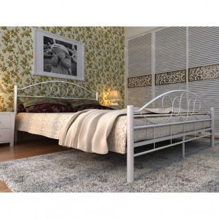 vidaXL Bett mit Memory-Schaum-Matratze Weiß Metall 180×200 cm