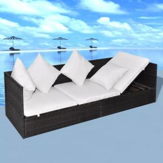 vidaXL Garten-Sofabett mit Auflage und Kissen Braun