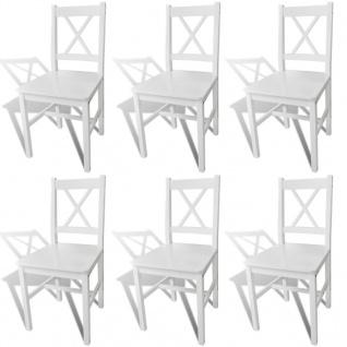 vidaXL Esszimmerstühle 6 Stk. Weiß Kiefernholz