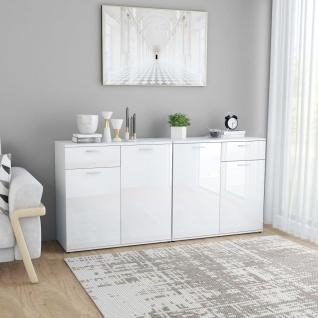 vidaXL Sideboard Hochglanz-Weiß 160×36×75 cm Spanplatte