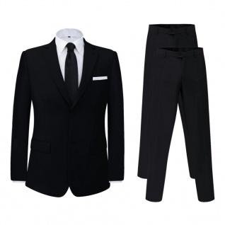 vidaXL 2-tlg. Business-Anzug für Herren mit extra Hose Schwarz Gr. 48