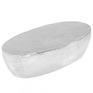 vidaXL Couchtisch Silber gehämmert 100 x 50 x 28 cm Aluminium