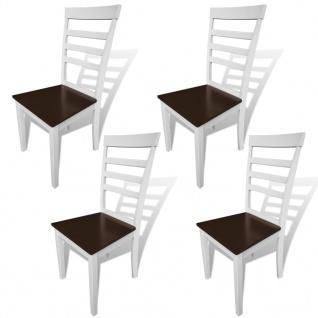 vidaXL Esszimmerstühle 4 Stk. Massivholz Braun und Weiß