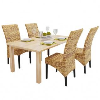 vidaXL Esszimmerstühle 4 Stk. Abaca und Mango Massivholz