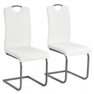 vidaXL Esszimmerstühle 2 Stk. Kunstleder 43 x 55 x 100 cm Weiß