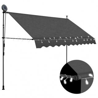 vidaXL Einziehbare Markise Handbetrieben mit LED 250 cm Anthrazit