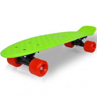 """Retro-Skateboard mit grünem Deck und roten Rollen 6, 1"""""""
