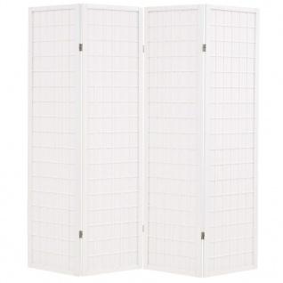 vidaXL 4-tlg. Raumteiler Japanischer Stil Klappbar 160 x 170 cm Weiß