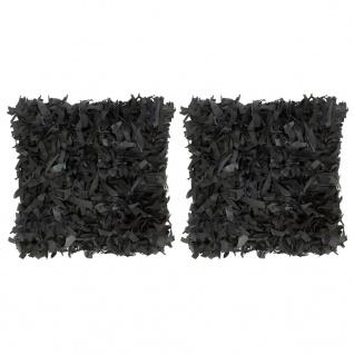 vidaXL Kissen 2 Stk. Hochflor Schwarz 45 x 45 cm Leder und Baumwolle