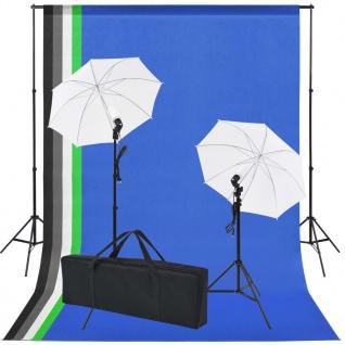 vidaXL Fotostudio-Set: 5 Bunte Hintergründe & 2 Schirme