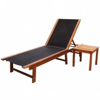 vidaXL Sonnenliege mit Tisch Akazie Massivholz und Textilene