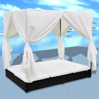vidaXL Outdoor-Loungebett mit Vorhang Poly Rattan Schwarz