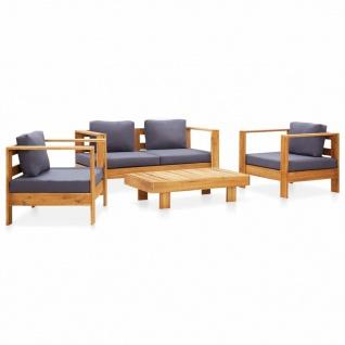 vidaXL 4-tlg. Garten-Lounge-Set mit Kissen Grau Massivholz Akazie